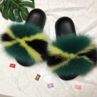 2020 Wholesale custom logo new PVC indoor slipper flush real soft raccoon fur slippers outdoor fur slides sandals fox