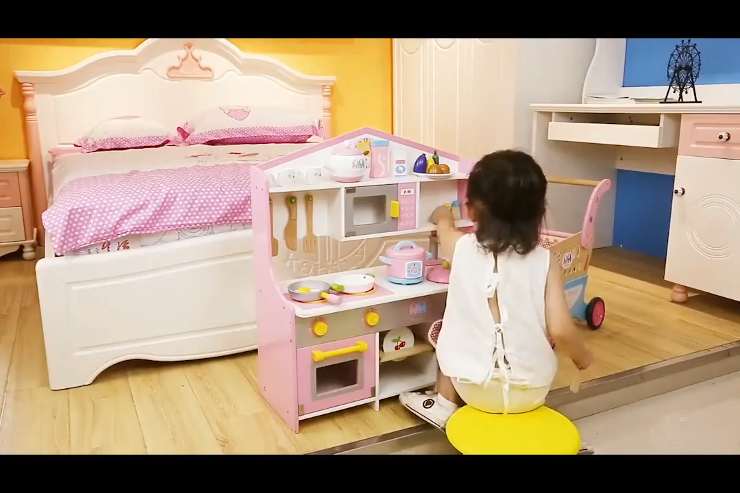 Pretending Role Play Pink Big Cooking Magnetic Simulation Wooden Kitchen Sets Toys