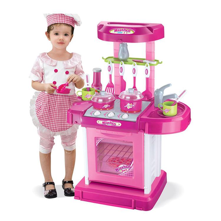 Nieuwe Plastic Licht Pretend Play Koken Keuken Speelgoed Voor Meisjes Met Muziek