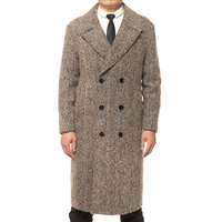 High Quality 100% Wool Double-Breasted Winter Men's Long Coats
