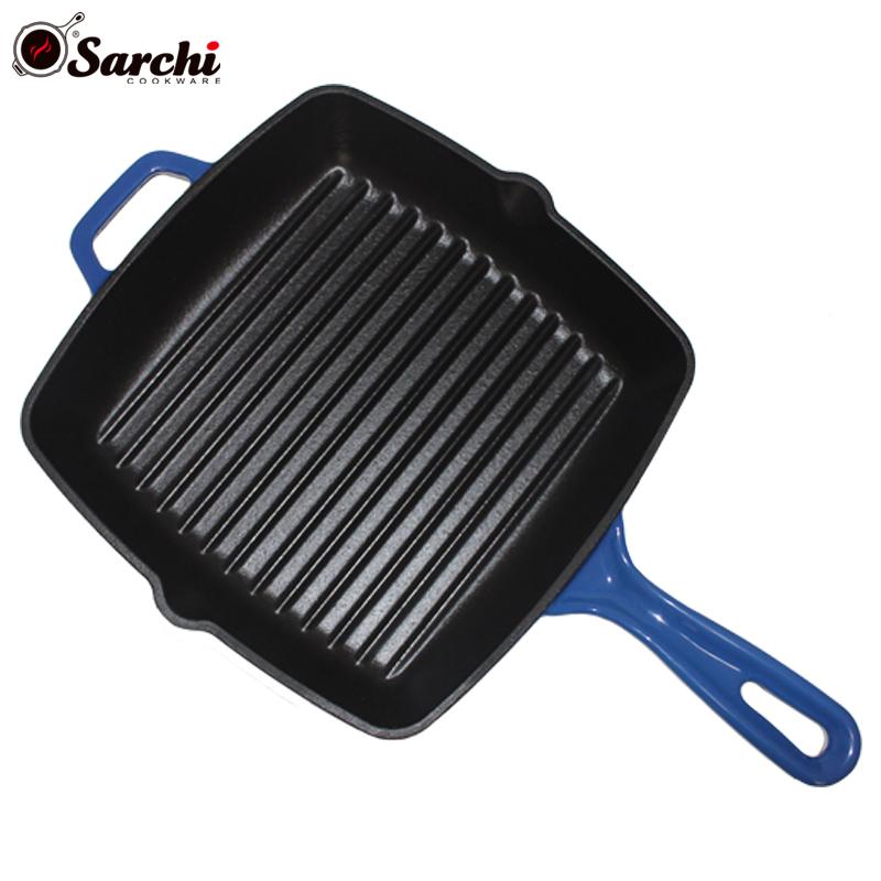 kitchen square cast iron enamel steak frying pan skillet grill pan