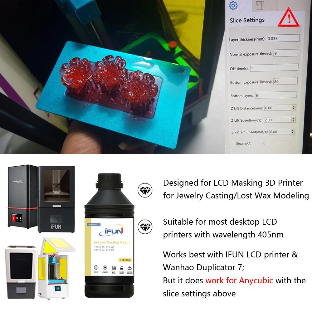 Ifun איבד שעוות שרף 3d מדפסת ניתנת ליציקה uv לריפוי שרף 405nm תכשיטי ליהוק נוזל פולימר שרף עבור lcd/dlp 3d מדפסת