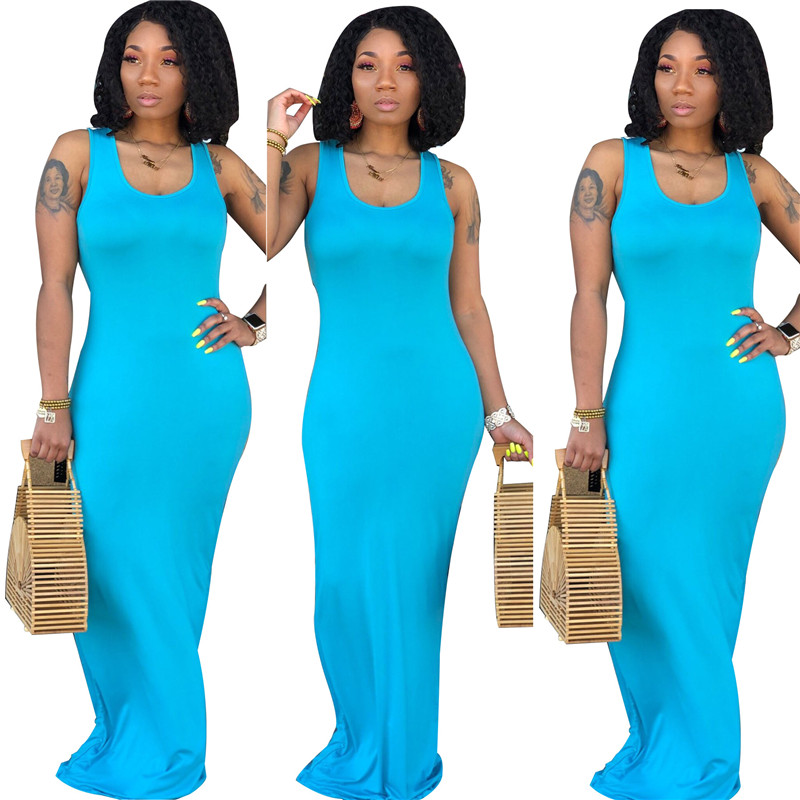 small order accept wholesale 202020 Solid Color Women Summer Sleeveless Long Maxi Dress