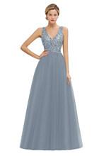 Роскошное вечернее платье из тюля с серебряными бусинами и блестками, 2020, сексуальное вечернее платье с V-образным вырезом на спине, вечерни...(Китай)