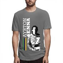 Мужская футболка с короткими рукавами, хлопковая Приталенная футболка с короткими рукавами и принтом автомобилей, Ayrton Senna, уличная одежда, ...(China)