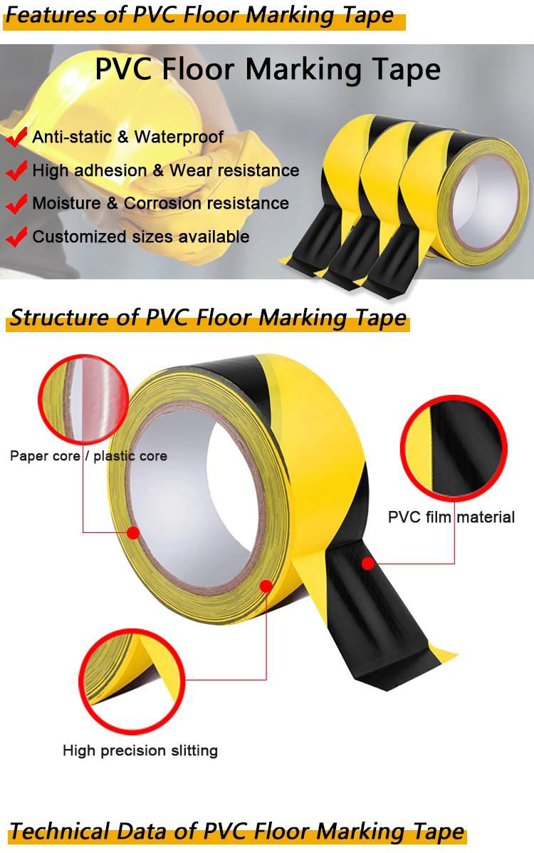 Yellow and Black Safety Signage Printed Field Outdoor Underground Road Warning Hazard Tape PVC Floor Marking Tape
