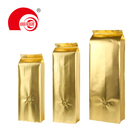 Hot Selling Glossy Gold Quad Seal Side Gusset Pouch Laminated Plastic Bag for Dry Fruit Storage