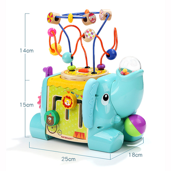 5 in 1 elephant baby wooden garden Activity centre beads cube 120384
