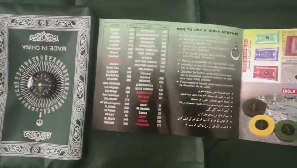 Anti-água árabe islam muçulmano de viagem dobrável esteira de oração com bússola portátil sejadah tapete tapete