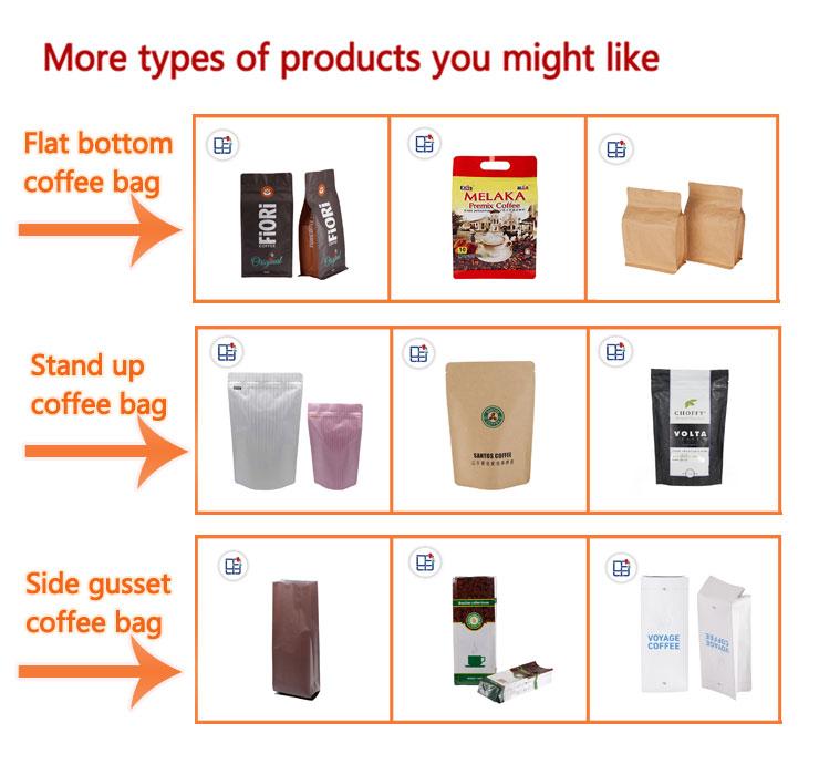 הדפסה מוקפדת Custom מזון כיתה שטוח תחתון לקום אריזת קפה קראפט שקיות עם שסתום