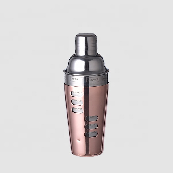 Factory Direct 700ml rose gold copper plated stainless steel cocktail shakers with cocktail recipes