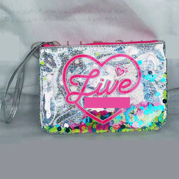 Candy girls' Clear cosmetic bag silver color make up bag zipper closed liquid drift sand small bag