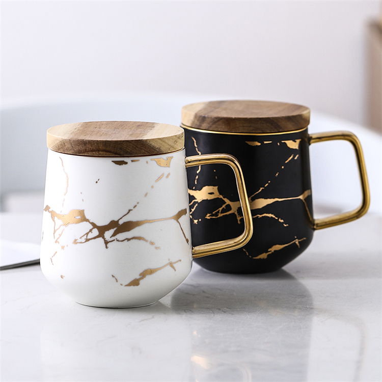 Popular design custom logo golden handle shiny black ceramic marble coffee mugs with bamboo lid
