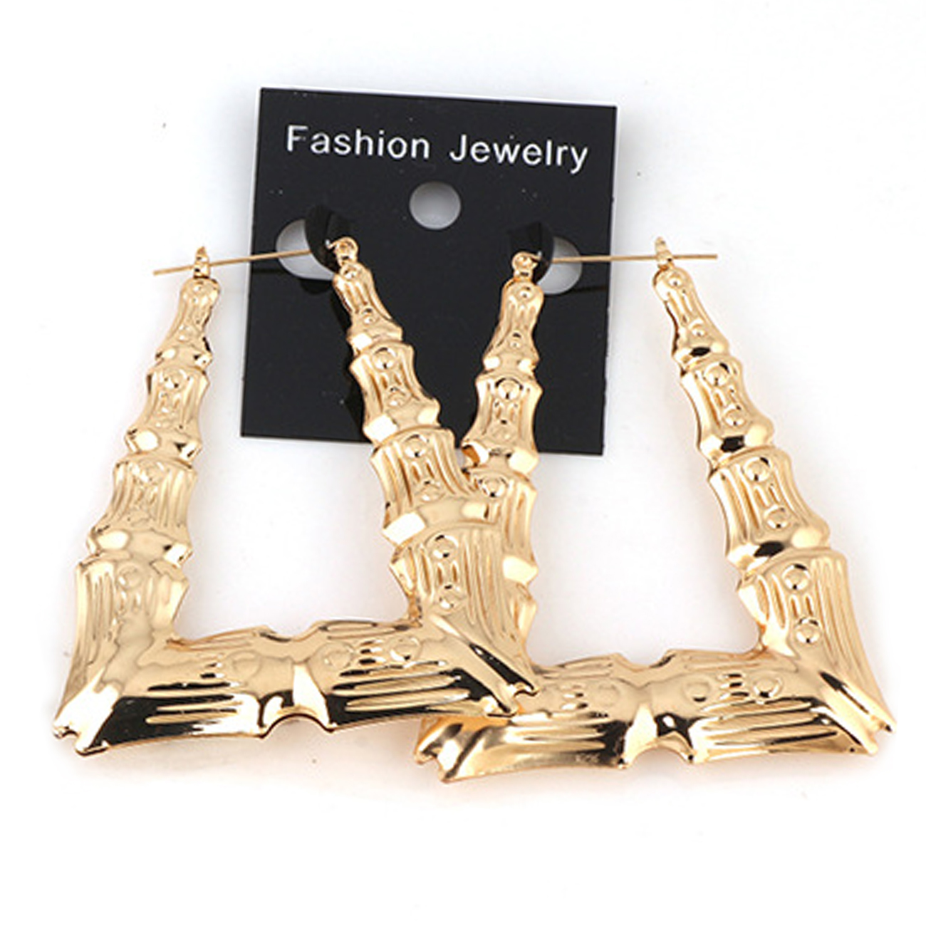 Wholesale Fashion Bamboo Earrings Gold Silver Trapezoid Shape Big Bamboo Earrings Hoops BHEP055, As the pictures