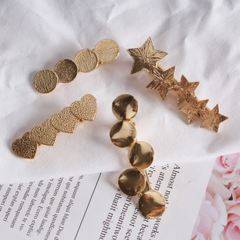 Simple love hairpin star round edge clip alloy geometric spring hairpin bride hair accessories