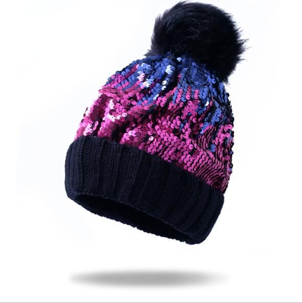 Beanies Hat Hip-Hop Skullies Beanie Sequin Caps Soft Warm Slouch sequin beanie Hat with PomPom