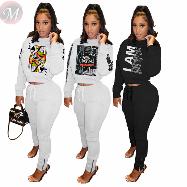 Hot Selling Casual Fashion Print Long Sleeve 2 Pcs Track Suit Outfits Two Piece Set Women Clothing For Women