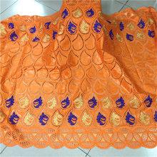 Желтая швейцарская хлопчатобумажная кружевная ткань Bazin дешевая цена 2020 кружевная ткань для свадебного платья BL363(China)