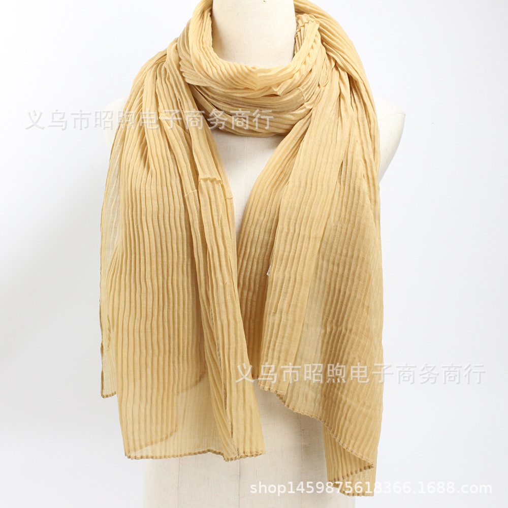 Foreign Trade Explosion Scarf Twisted Fold Monochrome Cotton and Hemp Scarf Muslim Women's Headscarf Hot Sales in Indonesia