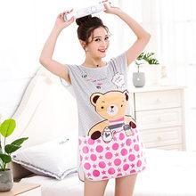 Sanderala, Женская Милая Ночная рубашка с рисунком, сексуальное ночное белье с круглым вырезом, тонкое женское нижнее белье, ночная рубашка, дома...(Китай)