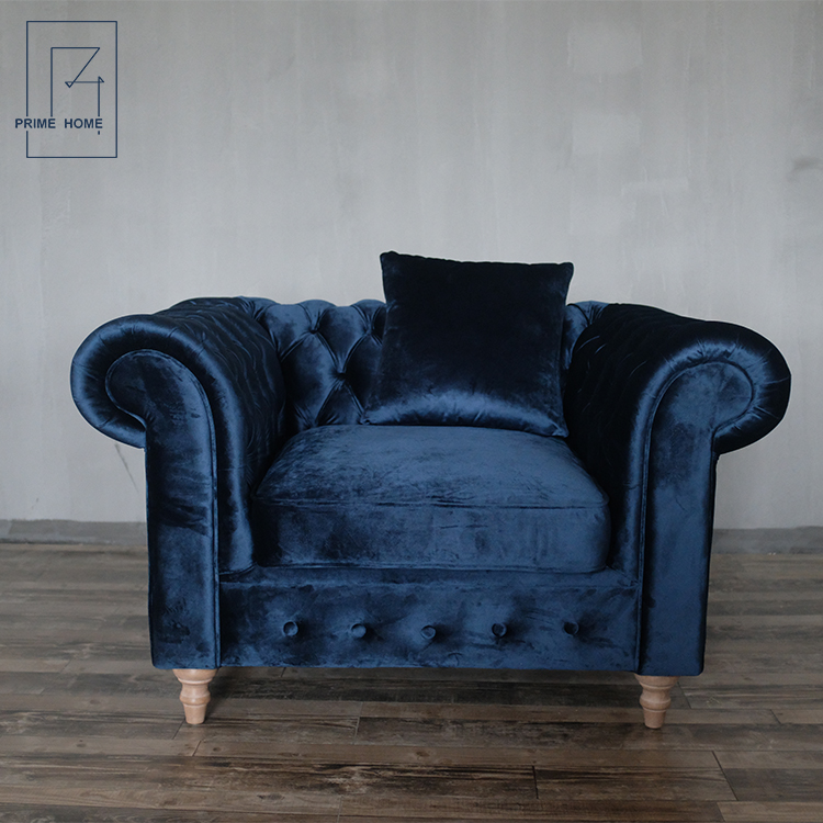 French Style Blue Velvet Sofa Fabric,Luxury Comfortable Single Seater Sofa  - Buy Blue Velvet Sofa,Single Seater Sofa,Velvet Sofa Fabric Product on ...