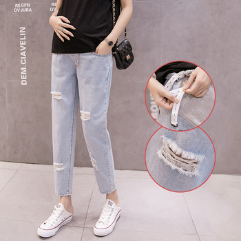 2019 hot sale maternity fashion ripped jeans high waist pregnant women trousers stylish pregnant women close-fitting pants