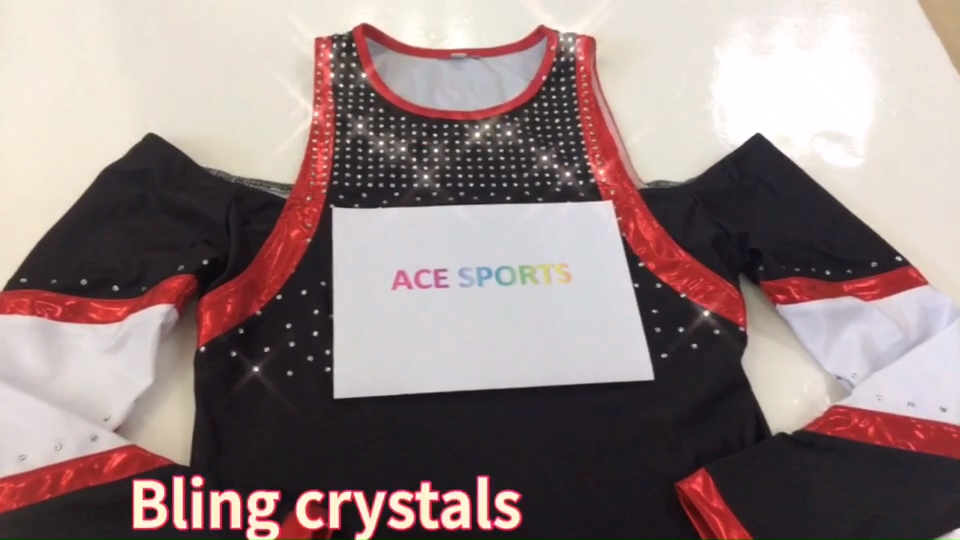 Customized Cheerleading Training Set ,Cheerleading Uniforms With Rhinestones,Long Sleeve Top And Capris