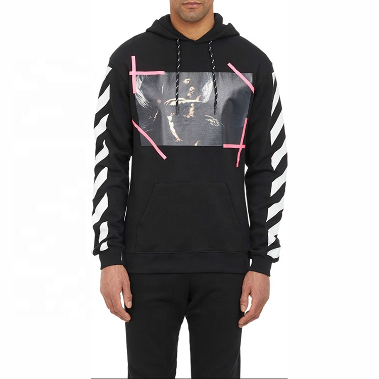 Hip Hop Street Fashion Print <strong>Black</strong> Fleece Pullover <strong>Men</strong> <strong>Hoodie</strong>