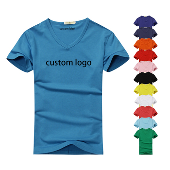 Custom print odm graphic screenprint cotton and polyester lady's v neck plain white red black teen women tees t-shirt for men
