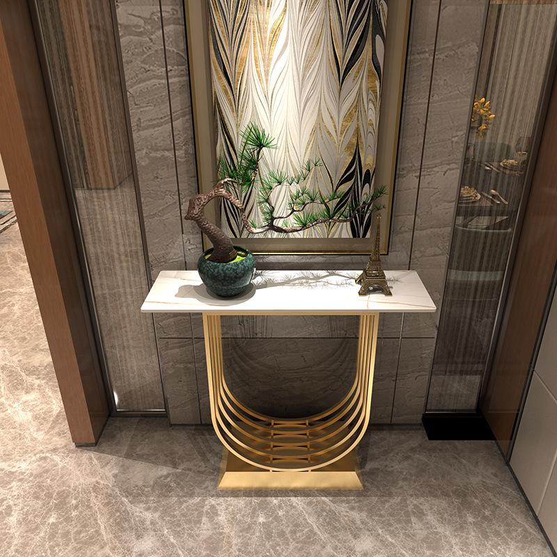 الحديثة الذهب يو شكل تصميم فندق مدخل الجانب طاولة وحدة التحكم