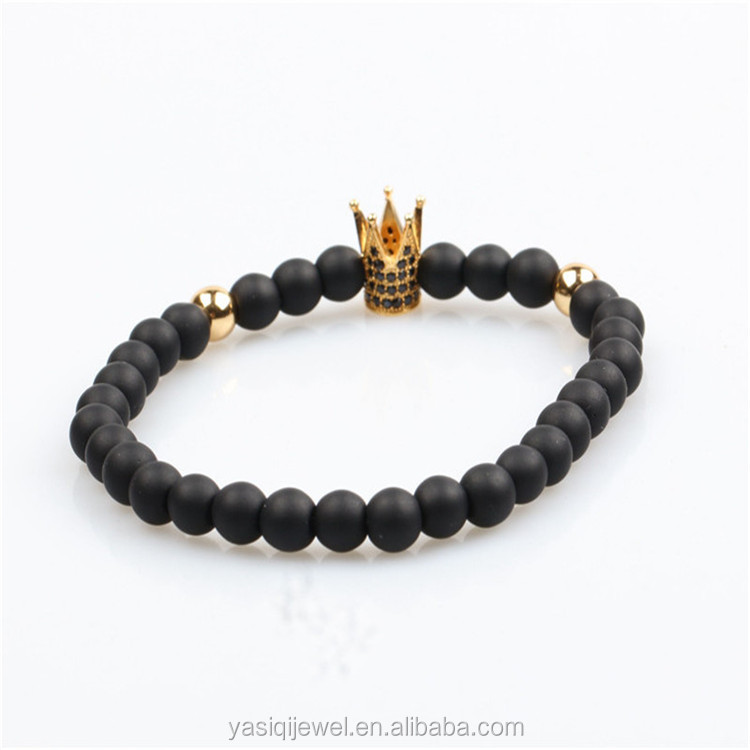 wholesale gemstone Matte Black Onyx Stone gold Micro Pave Cubic Imperial crown Bead Bracelet for Men