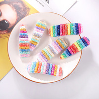 Wholesale Plastic Colorful Glitter Accessories Sequins Cute Girl Rainbow Snap Hair Clips