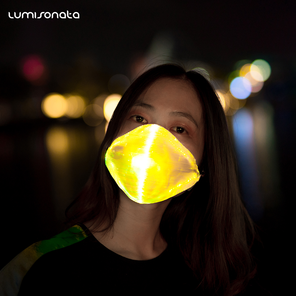 High quality fashion cool Led luminous light up face mask rave party mask