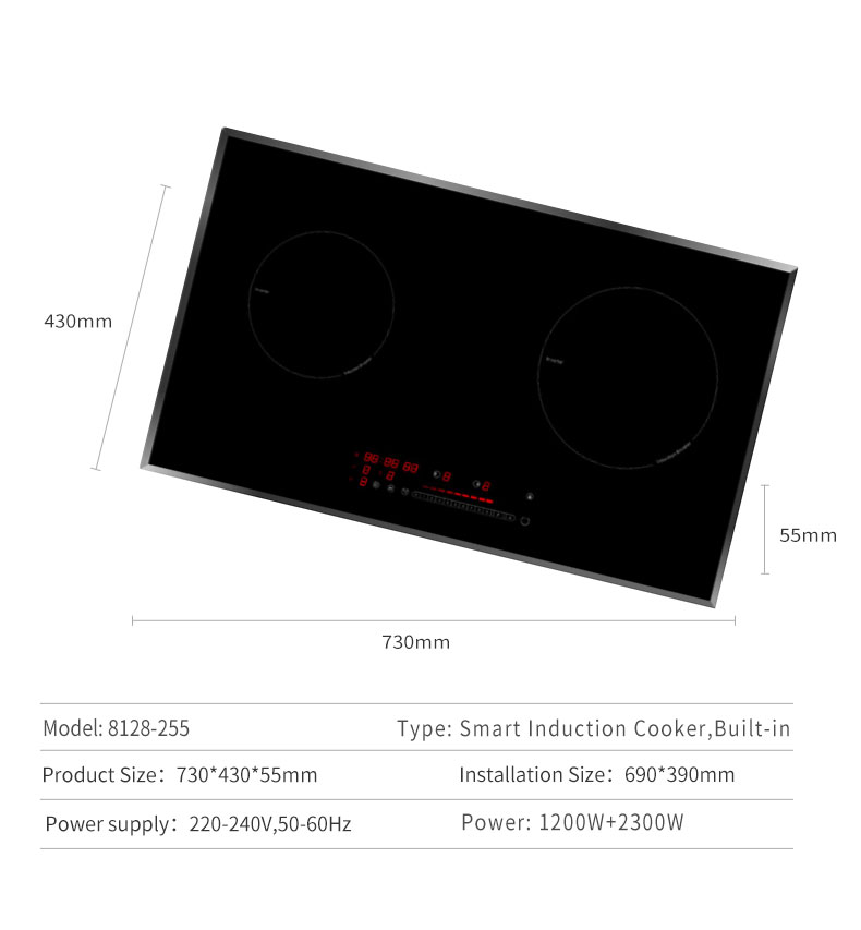 HONE Single Ending Drive Aluminum Coil 730 X 490 mm 2 Burner Induction Hob for Asia Market