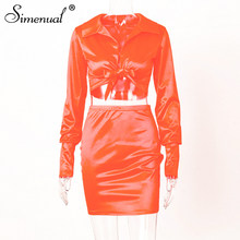 Simenual пикантные модные нарядные Сатиновые одинаковые комплекты Для женщин V образным вырезом Вечерние Шелковый комплект одежды из 2 предмет...(Китай)