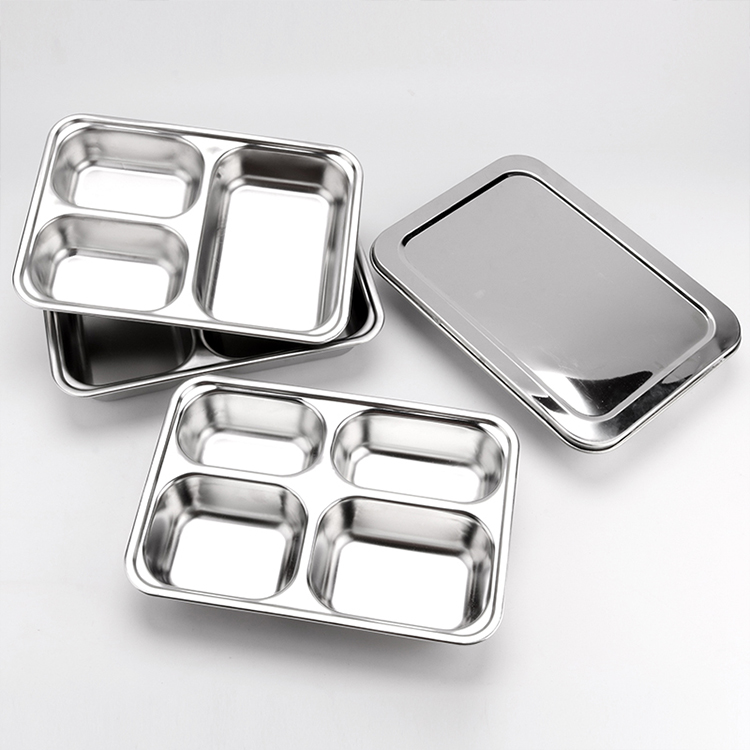 Various Specifications School Stainless steel Lunch Dinner tray fast food snack plate