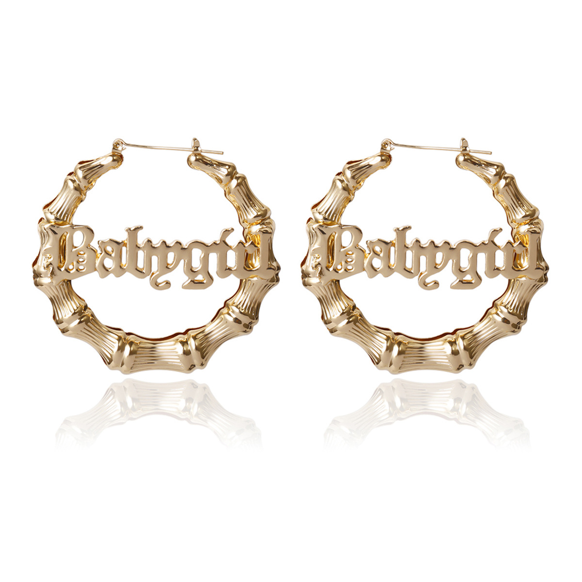 America Exaggerated Letter BABY GIRL Earrings Oversize Gold Hoop Custom Bamboo Earrings Hoops For Girls Jewelry, Golden