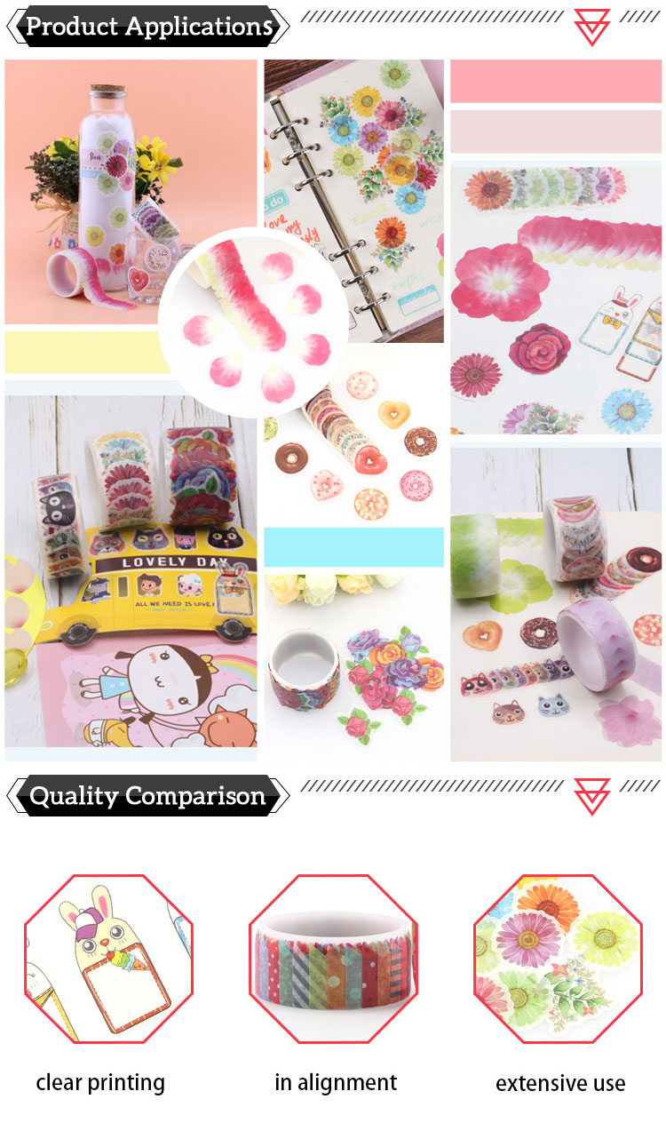 Custom printed decorative masking washi tape stickers