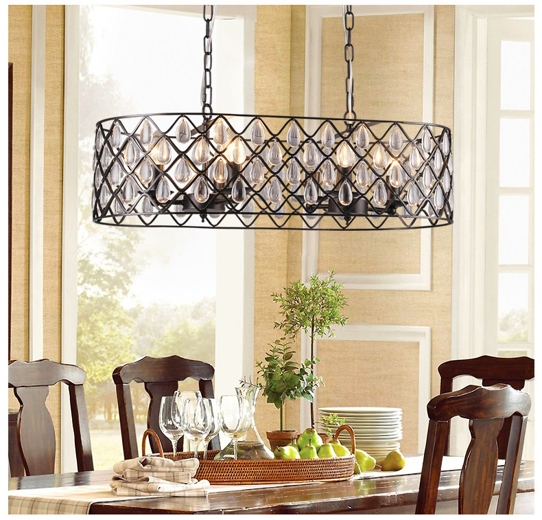 American country retro chandeliers iron crystal chandeliers restaurant lights hotel engineering lamps