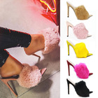 Wholesale latest luxury rabbit fur open toe high heel slippers sandals