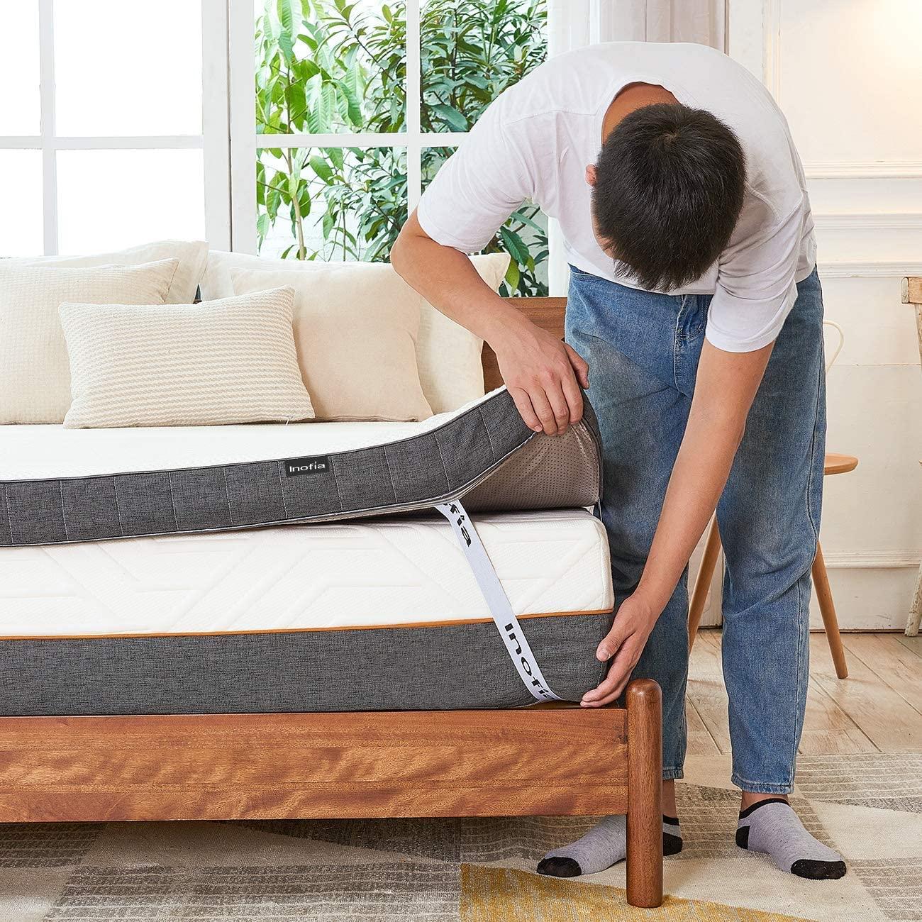 Inofia Gel Memory Foam Mattress Topper Roll In The Carton Amazon Pressure Relieving Mattress Topper