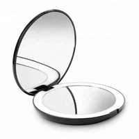 Hot selling 4.9 Inch Round LED handheld Compact pocket mirror with 10x magnfication double sided