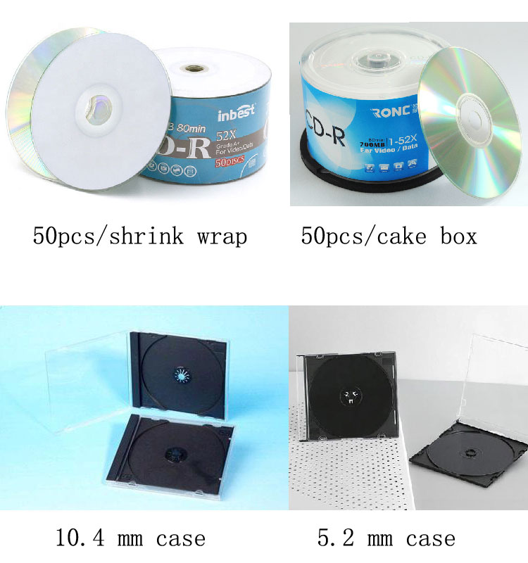 Wholesale empty cds disk recordable compact disc cdr, 80min 700 mb 52x printable blank printable cd-r for car cd