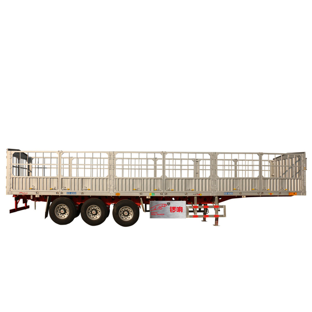 Air Suspension 7 Open Door Aluminum Cargo Fence Transport Trailer 3 Axis 40 Feet Straight Beam High Fence Semi Trailer