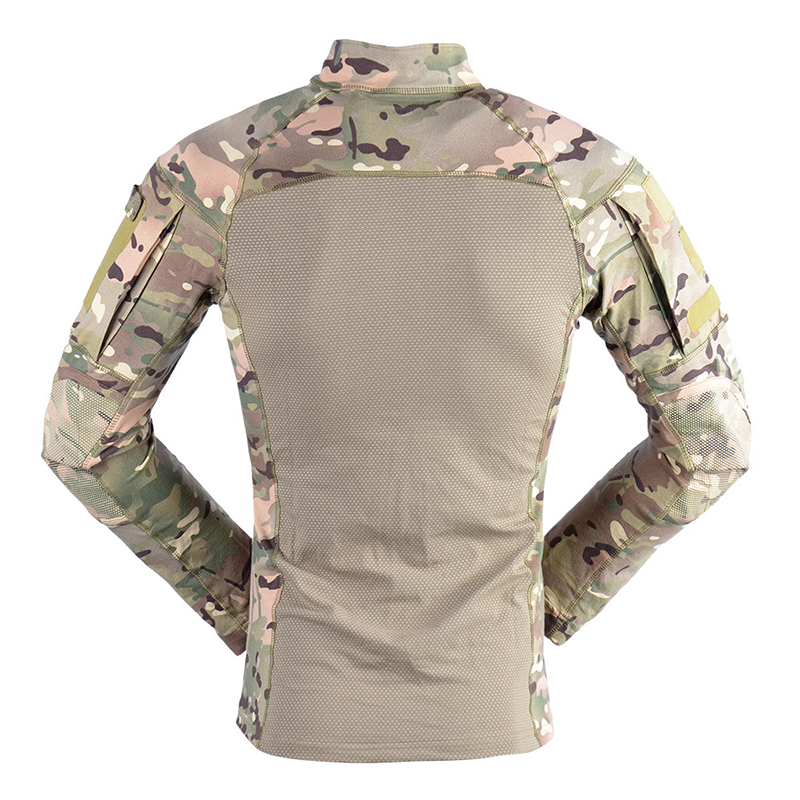 Mens Multicam Knitting Long Sleeve Army camouflage Print T-shirt Clothes