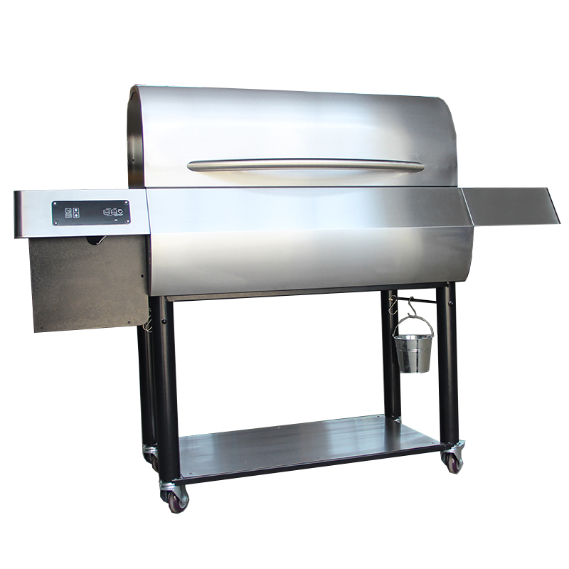 Electric Digital Control Panel Heavy Duty Outdoor Offset Barrel Wood Pellet Charcoal BBQ <strong>Grill</strong> With <strong>fish</strong> meat Smoker