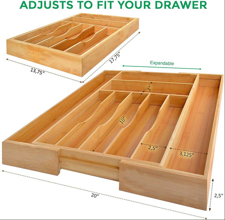 Expandable Bamboo Kitchen Drawer Organizer and Cutlery Tray