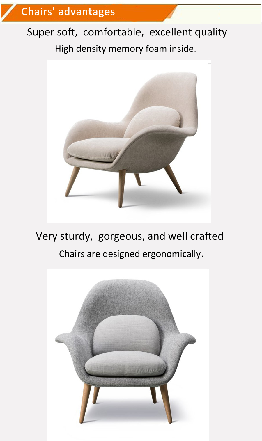 Nordic stylish design living room solid wood feet high-end space Italian Lazy Easy Swoon Lounge Arm Chair