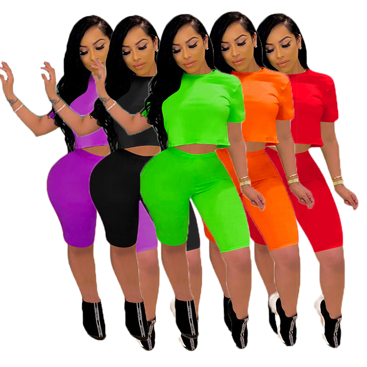 women204 Hot Sell  Women Solid Color Top And Pants  Sexy 2 Pcs Outfits Two Piece Short Set