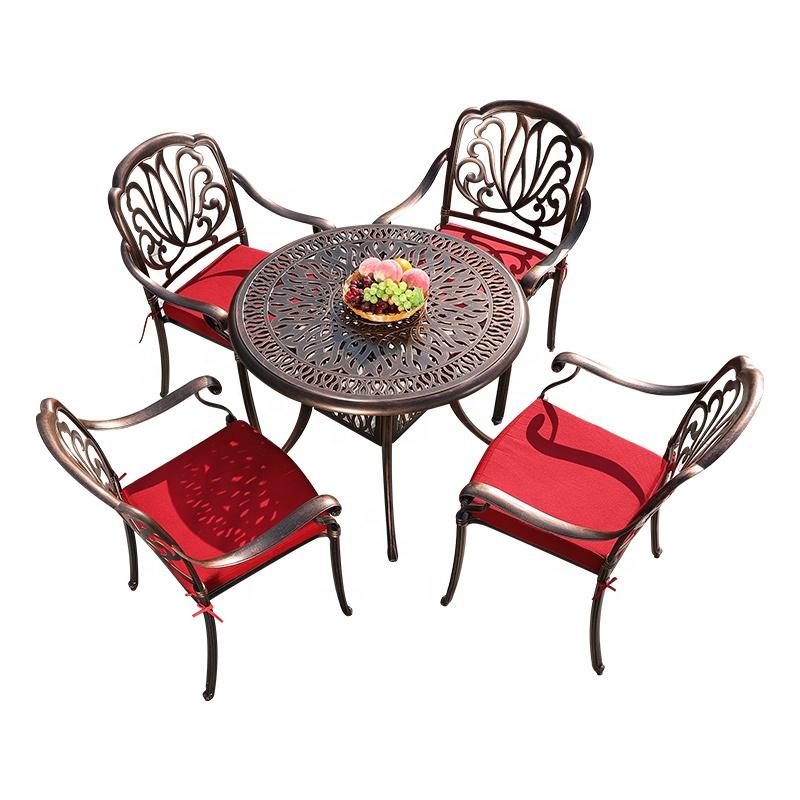 mesa y sillas aluminio patio